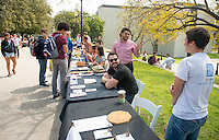 Admitted students and their parents talk with students and staff at the Community Resource Fair   on the Occidental College campus during Experience Oxy! Admitted Student Day, April 18, 2014. (Photo by Marc Campos, Occidental College Photographer)