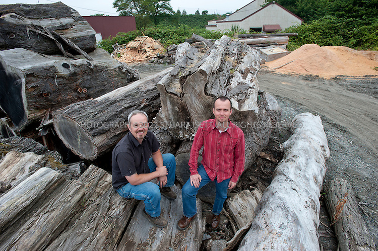 7/28/2010--Seattle, WA USA..Meyer Wells builds modern furniture from reclaimed urban trees in their facility in Seattle, WASH. Seth Meyer and John Wells started the company have successfully merged their environmental idealism with a business model that plays right into the Pacific Northwest's passion for sustainable forests. ..Meyer Wells harvests development-doomed or storm-damaged urban trees from Seattle neighborhoods and builds high-end custom furniture. The business is four years old and has grown every year in defiance of the recession; in 2009 they had $850,000 in gross sales. ..©2010 Stuart Isett. All rights reserved.