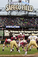 Randy Fasani takes a snap during Stanford's loss to Georgia Tech on December 27, 2001 in Seattle, WA.<br />Photo credit mandatory: Gonzalesphoto.com