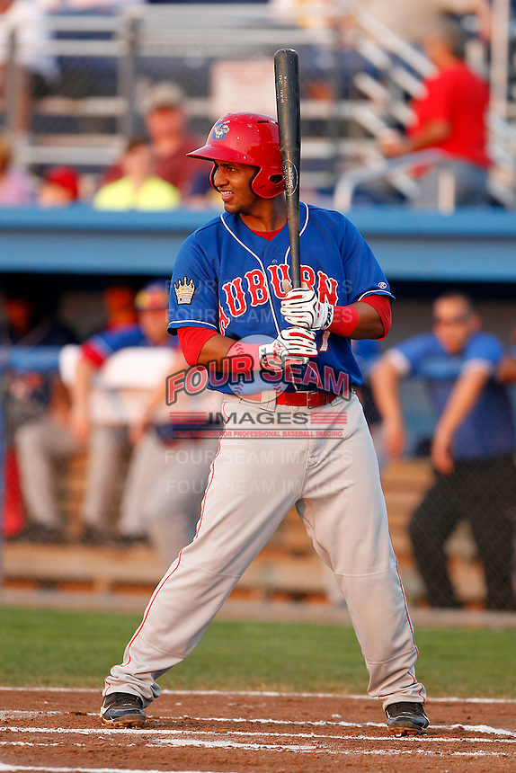 Auburn Doubledays outfielder Hendry Jimenez #7 during a game against the Batavia Muckdogs at Dwyer Stadium on September 3, 2011 in Batavia, New York.  Auburn defeated Batavia 2-1.  (Mike Janes/Four Seam Images)