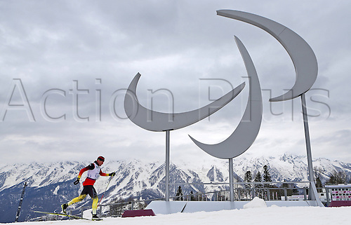 07.03.2014. Sochi, Russia.  Tino Uhlig of Germany practices Cross Country - Standing during a training session at Laura Cross-country Ski & Biathlon Center at the Sochi 2014 Paralympic Winter Games, Krasnaya Polyana, Russia, 07 March 2014.