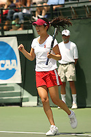 23 May 2006: Amber Liu during Stanford's 4-1 win over the Miami Hurricanes in the 2006 NCAA Division 1 Women's Tennis Team Championships at the Taube Family Tennis Stadium in Stanford, CA.