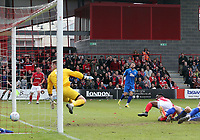 Darren McQueen of Ebbsfleet United scores the second goal during Ebbsfleet United vs Chelmsford City, Vanarama National League South Play-Off Final Football at The PHB Stadium on 13th May 2017