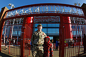 5th November 2017, Riverside Stadium, Middlesbrough, England; EFL Championship football, Middlesbrough versus Sunderland; A member of the Yorkshire Regiment with his son outside the Riverside Stadium before the game