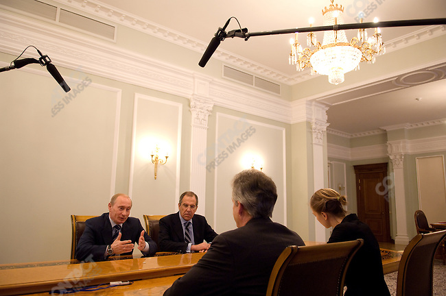 Russian President Vladimir Putin, flanked by his Foreign Minister Sergey Lavrov, spoke to departing U.S. Ambassador to Russia William Burns at a meeting at the presidential residence at Novo-Ogaryovo. Moscow, Russia, March 5, 2008