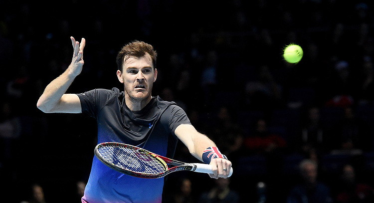 Jamie Murray in action against Juan Sebastian Cabal and Robert Farah with his partner Bruno Soares <br /> <br /> Photographer Hannah Fountain/CameraSport<br /> <br /> International Tennis - Nitto ATP World Tour Finals Day 3 - O2 Arena - London - Tuesday 13th November 2018<br /> <br /> World Copyright © 2018 CameraSport. All rights reserved. 43 Linden Ave. Countesthorpe. Leicester. England. LE8 5PG - Tel: +44 (0) 116 277 4147 - admin@camerasport.com - www.camerasport.com