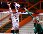 November 22, 2019; Rapid City, SD, USA; Caitlyn Pruis #10 of Sioux Falls Christian attempts a block against Miller at the 2019 South Dakota State Volleyball Championships at the Rushmore Plaza Civic Center in Rapid City, S.D. (Richard Carlson/Inertia)