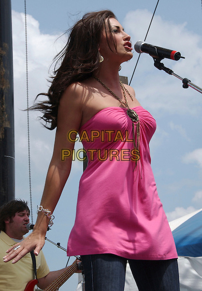 DANIELLE PECK.2007 CMA Music Festival held at Greased Lightning Daytime Stage at Riverfront Park, Nashville, Tennessee, USA..June 7th, 2007 .half 3/4 length stage concert live music gig performance singing pink top microphone .CAP/ADM/LF.©Laura Farr/AdMedia/Capital Pictures