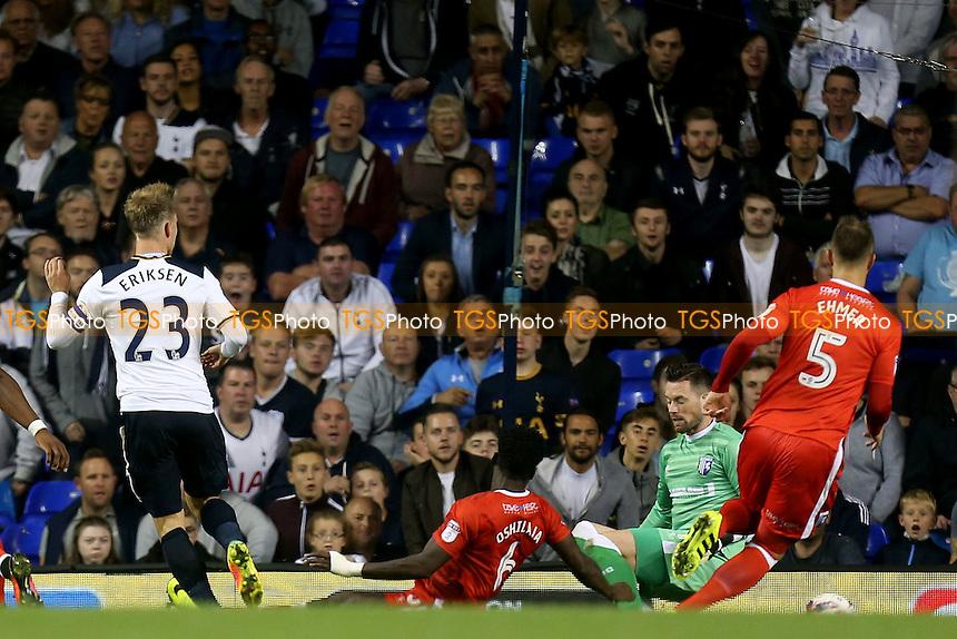Christian Eriksen of Tottenham Hotspur scores the second goal during Tottenham Hotspur vs Gillingham, EFL Cup Football at White Hart Lane on 21st September 2016