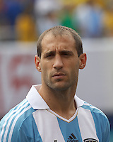 Argentina defender Pablo Zabaleta (4). In an international friendly (Clash of Titans), Argentina defeated Brazil, 4-3, at MetLife Stadium on June 9, 2012.