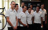 Team Sky during the press conference of presentation for La Vuelta 2012. Christopher Froome, Juan Antonio Flecha, Sergio Luis Henao Montoya, Danny Pate, Richie Porte, Ian Stannard, Ben Swift, Rigoberto Uran and Xabier Zandio.August 17,2012. (ALTERPHOTOS/Alfaqui/Paola Otero) /NortePhoto.com<br />