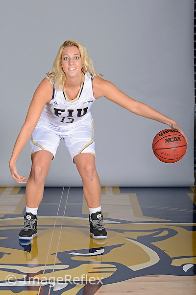 14 October 2015:  FIU guard/forward Janka Hegedus (13) poses during picture day at FIU Arena in Miami, Florida.