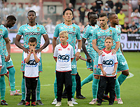 KORTRIJK , BELGIUM - AUGUST 03 : Ryota Morioka (middle) of Charleroi pictured posing prior to the Jupiler Pro League match day 2 between Kv Kortrijk and Sporting Charleroi on August 03 , 2019 in Kortrijk , Belgium . ( Photo by David Catry / Isosport )