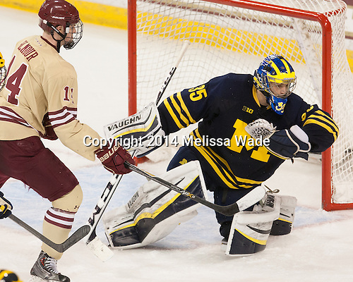 Adam Gilmour (BC - 14), Zach Nagelvoort (Michigan - 35) - The Boston College Eagles defeated the visiting University of Michigan Wolverines 5-1 (EN) on Saturday, December 13, 2014, at Kelley Rink in Conte Forum in Chestnut Hill, Massachusetts.