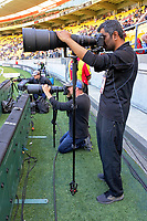 Photographers Marty Melville and Raghavan Venugopal. Twenty20 International cricket match between NZ Black Caps and England at Westpac Stadium in Wellington, New Zealand on Sunday, 3 November 2019. Photo: Dave Lintott / lintottphoto.co.nz