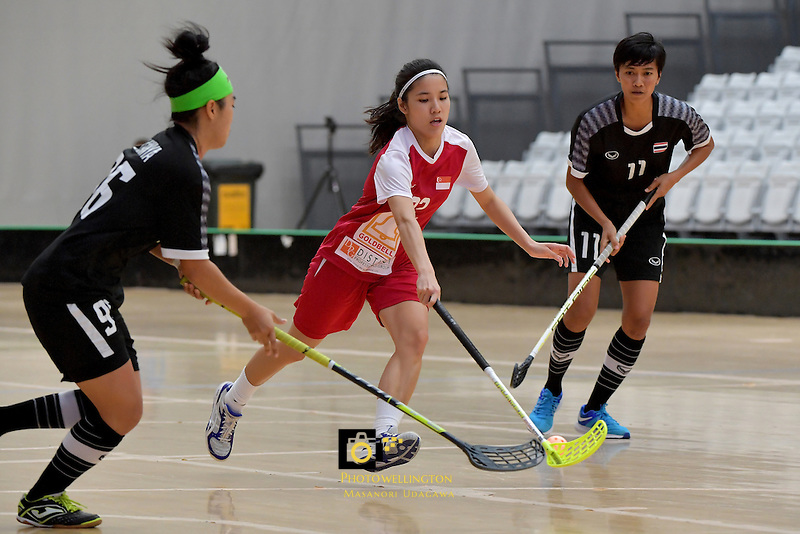 Singapore's Amanda Yeap in action during the World Floorball Championships 2017 Qualification for Asia Oceania Region - Singapore v Thailand at ASB Sports Centre , Wellington, New Zealand on Sunday 5 February 2017.<br /> Photo by Masanori Udagawa<br /> www.photowellington.photoshelter.com.