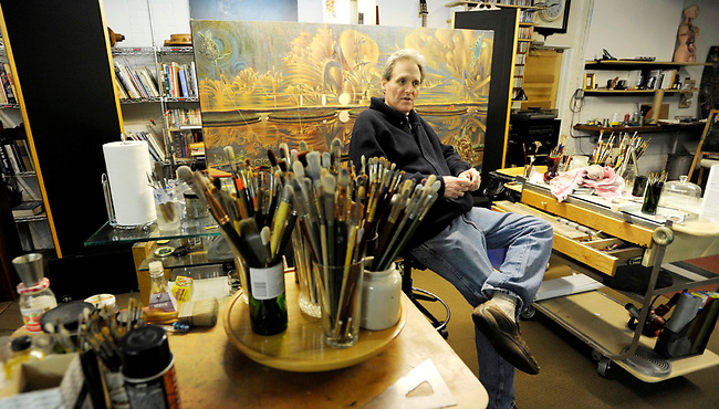 """Artist Victor Stabin sits in his studio at the site of his """"Flow"""" Gallery and Restaurant in Jim Thorpe, Pa Wednesday, Jan. 19, 2010. (The KeyStone Edge/Bradley C Bower)"""