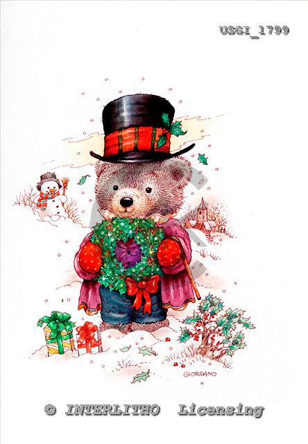 GIORDANO, CHRISTMAS ANIMALS, WEIHNACHTEN TIERE, NAVIDAD ANIMALES, Teddies, paintings+++++,USGI1799,#XA#