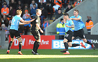 Southend United's Rob Kiernan celebrates scoring the opening goal <br /> <br /> Photographer Kevin Barnes/CameraSport<br /> <br /> The EFL Sky Bet League One - Blackpool v Southend United - Saturday 9th March 2019 - Bloomfield Road - Blackpool<br /> <br /> World Copyright © 2019 CameraSport. All rights reserved. 43 Linden Ave. Countesthorpe. Leicester. England. LE8 5PG - Tel: +44 (0) 116 277 4147 - admin@camerasport.com - www.camerasport.com