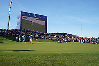 Tommy Fleetwood (Team Europe) on the 12th green during the saturday foursomes at the Ryder Cup, Le Golf National, Ile-de-France, France. 29/09/2018.<br /> Picture Fran Caffrey / Golffile.ie<br /> <br /> All photo usage must carry mandatory copyright credit (&copy; Golffile | Fran Caffrey)