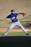 Chris Anderson (35) of the Rancho Cucamonga Quakes pitches against the High Desert Mavericks at Heritage Field on August 7, 2016 in Adelanto, California. Rancho Cucamonga defeated High Desert, 10-9. (Larry Goren/Four Seam Images)