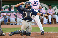 Michael Turay (15) of the Helena Brewers behind the plate in action against the Ogden Raptors at Lindquist Field in Ogden Utah on July 20, 2013.  (Stephen Smith/Four Seam Images)