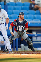 Fort Myers Miracle catcher Taylor Grzelakowski (22) during a game against the Dunedin Blue Jays on April 17, 2018 at Dunedin Stadium in Dunedin, Florida.  Dunedin defeated Fort Myers 5-2.  (Mike Janes/Four Seam Images)
