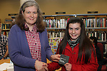 5th Class student at St.Pauls Snr NS, Chloe Doyle receives her runner up prize from Anne Keavney at the Drogheda Counts Presentation in Drogheda Library...(Photo credit should read Jenny Matthews/NEWSFILE)...