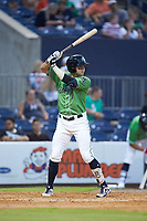 Ryan LaMarre (7) of the Gwinnett Stripers at bat against the Scranton/Wilkes-Barre RailRiders at BB&T BallPark on August 16, 2019 in Lawrenceville, Georgia. The Stripers defeated the RailRiders 5-2. (Brian Westerholt/Four Seam Images)