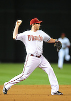 Apr. 19, 2010; Phoenix, AZ, USA; Arizona Diamondbacks shortstop Stephen Drew against the St. Louis Cardinals at Chase Field. The Cardinals defeated the Diamondbacks 4-2. Mandatory Credit: Mark J. Rebilas-