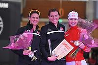 SCHAATSEN: BERLIJN: Sportforum, 08-12-2013, Essent ISU World Cup, podium 1000m Ladies Division A, track record, Brittany Bowe (USA), Heather Richardson (USA), Olga Fatkulina (RUS), ©foto Martin de Jong
