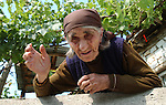 Lin-Pogradec-Albania - August 02, 2004---An old woman from the village of Lin, proud/happy of the vine and grapes on the terrace of her house; region/village of project implementation by GTZ-Wiram-Albania (German Technical Cooperation, Deutsche Gesellschaft fuer Technische Zusammenarbeit (GTZ) GmbH); agriculture-people-portrait---Photo: Horst Wagner/eup-images