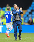 1st October 2017, Hillsborough, Sheffield, England; EFL Championship football, Sheffield Wednesday versus Leeds United; Carlos Carvalhal Manager of Sheffield Wednesday  claps and thanks the fans for believing in his and his team