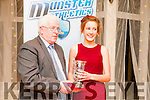 Munster Athletics Star Awards: Sasha Brent, Lios Tuathail A.C. receiving her Juvenile Cross Country Award from Mossie Woulfe, Chairman, Munster Athletics at the Munster Athletics Star awards ceremony at the Listowel Arms Hotel on Saturday night last.