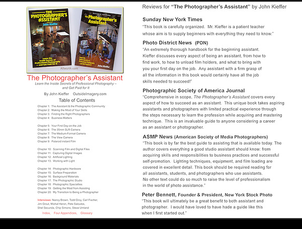 The Photographer's Assistant, book reviews.
