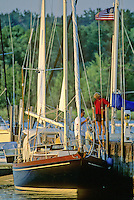 Fish Creek, Door County, Wisconsin is a popular place for sail and pleasure boats to dock at one of the marinas or in the harbor off of the big waters of Green Bay in Lake Michigan.
