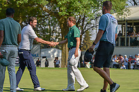 Marc Leishman (AUS) shakes hands with Justin Thomas (USA)following round 4 of the World Golf Championships, Mexico, Club De Golf Chapultepec, Mexico City, Mexico. 3/4/2018.<br /> Picture: Golffile | Ken Murray<br /> <br /> <br /> All photo usage must carry mandatory copyright credit (&copy; Golffile | Ken Murray)