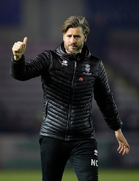 Lincoln City's assistant manager Nicky Cowley acknowledges the fans at the end of the game<br /> <br /> Photographer Chris Vaughan/CameraSport<br /> <br /> The EFL Sky Bet League Two - Lincoln City v Exeter City - Tuesday 26th February 2019 - Sincil Bank - Lincoln<br /> <br /> World Copyright © 2019 CameraSport. All rights reserved. 43 Linden Ave. Countesthorpe. Leicester. England. LE8 5PG - Tel: +44 (0) 116 277 4147 - admin@camerasport.com - www.camerasport.com
