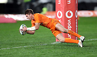 DURBAN, SOUTH AFRICA - JULY 14: Try for Sebastian Cancelliere of the Jaguares during the Super Rugby match between Cell C Sharks and Jaguares at Jonsson Kings Park on July 14, 2018 in Durban, South Africa. Photo: Steve Haag / stevehaagsports.com