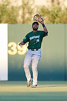 Daytona Tortugas right fielder Narciso Crook (34) catches a fly ball during a game against the Florida Fire Frogs on April 6, 2017 at Osceola County Stadium in Kissimmee, Florida.  Daytona defeated Florida 3-1.  (Mike Janes/Four Seam Images)
