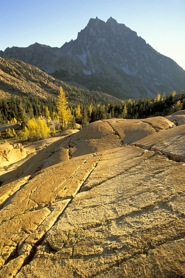 Sunrise over textured slabs of rock, Lake Ingalls, Wenatchee National Forest, Cascade Mountains, Washington
