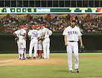 Yu Darvish (Rangers),<br /> AUGUST 30, 2013 - MLB :<br /> Yu Darvish of the Texas Rangers is pulled by manager Ron Washington #38 in the seventh inning during the Major League Baseball game against the Minnesota Twins at Rangers Ballpark in Arlington in Arlington, Texas, United States. (Photo by AFLO)