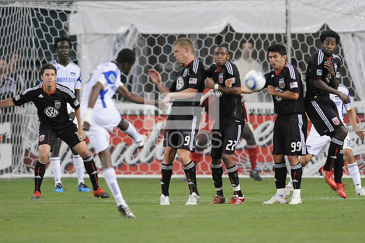 Kansas City Wizards defender Carlos Escobar (6) makes a free kick.  DC United defeated The Kansas City Wizards  2-0 at RFK Stadium, Wednesday  May 5, 2010.