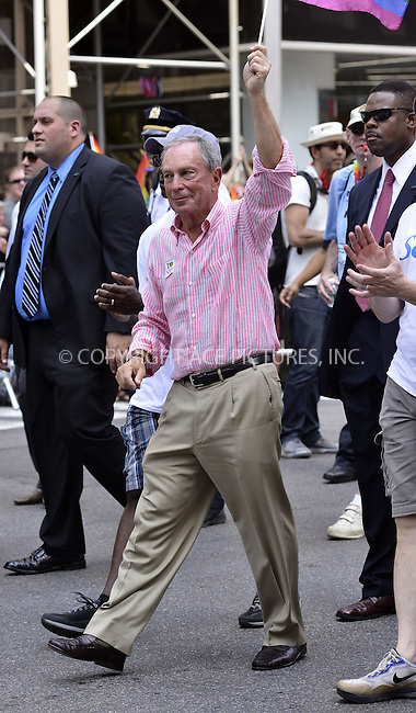 WWW.ACEPIXS.COM<br /> <br /> April 30 2013, New York City<br /> <br /> New York City Mayor Michael Bloomberg at The March during NYC Pride 2013 on June 30, 2013 in New York City.<br /> <br /> <br /> By Line: Curtis Means/ACE Pictures<br /> <br /> <br /> ACE Pictures, Inc.<br /> tel: 646 769 0430<br /> Email: info@acepixs.com<br /> www.acepixs.com