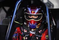 Nov 14, 2010; Pomona, CA, USA; NHRA nostalgia funny car driver Leah Pruett-Leduc during the Auto Club Finals at Auto Club Raceway at Pomona. Mandatory Credit: Mark J. Rebilas-