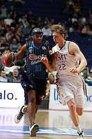 22.04.2012 SPAIN - ACB match played between Real Madrid vs Estudiantes at Palacio de los deportes stadium. The picture show Kyle Singler (American small forward of Real Madrid)