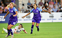 WASHINGTON, DC - AUGUST 24: Washington Spirit midfielder Andi Sullivan (12) and Orlando Pride forward Marta (Marta Vieira da Silva) (10) react as they watch a shot on goal during the National Women's Soccer League (NWSL) game between the Orlando Pride and Washington Spirit August 24, 2019 at Audi Field in Washington, D.C.. (Photo by Randy Litzinger/Icon Sportswire)