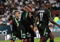 MANIZALES - COLOMBIA, 24-10-2018: Aldo Lealo Ramirez  jugador del Atlético Nacional celebra su gol contra el Once Caldas durante partido por la final ida  de la Copa Águila 2018 jugado en el estadio Palogrande de la ciudad de Manizales. / Aldo Lealo Ramirez player of  Atletico Nacional celebrates his goal agaisnt of  Once Caldas during  match for the firts  leg final of the Aguila Cup 2018 played at the Palogrande Stadium in Manizales city. Photo: VizzorImage / Santiago Osorio / Contribuidor
