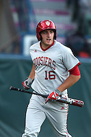 Dustin DeMuth #16 of the Indiana Hoosiers bats against the Long Beach State Dirtbags at Blair Field on March 14, 2014 in Long Beach, California. Long Beach State defeated Indiana 4-3. (Larry Goren/Four Seam Images)