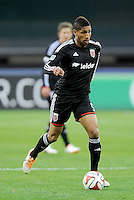 Washington, D.C.- March 29, 2014. Sean Franklin (5) of D.C. United. D.C. United defeated the New England Revolution 2-0 during a Major League Soccer Match for the 2014 season at RFK Stadium.